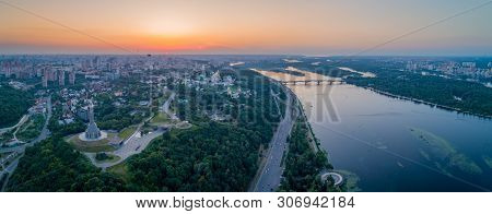 Panorama Of The City Of Kiev, The Capital Of Ukraine. Panorama Of Kiev In A Warm Summer Evening At S