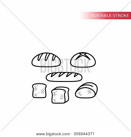 Bread Types, French Loaf, Sliced Toast Thin Line Icon Set. Bread Set, Slice Of Bread Vector Outline