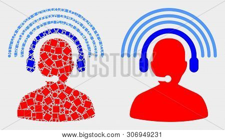 Dotted And Flat Radio Operator Icons. Vector Mosaic Of Radio Operator Composed Of Randomized Square