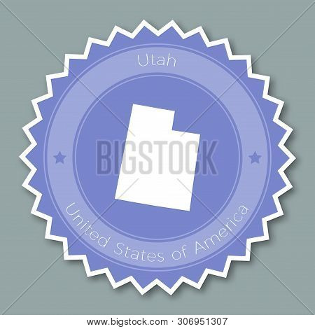 Utah Badge Flat Design. Round Flat Style Sticker Of Trendy Colors With The State Map And Name. Us St