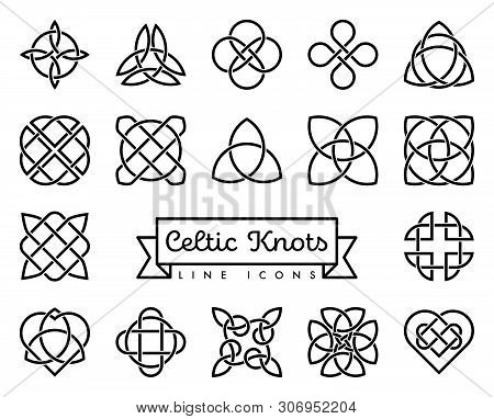 Collection Of Traditional Celtic Knots Line Icons Vector Illustration. Spirituality, Religion And Oc
