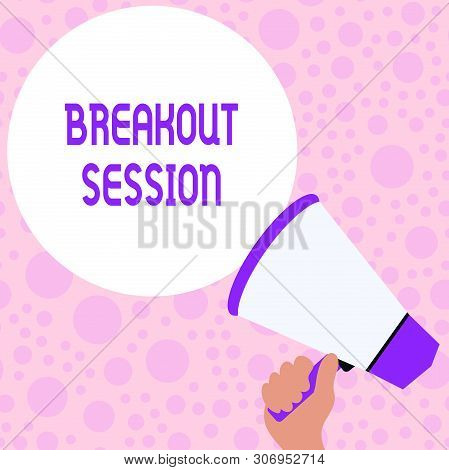 Writing note showing Breakout Session. Business photo showcasing workshop discussion or presentation on specific topic Hand Holding Loudhailer Speech Text Balloon Announcement New. poster