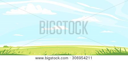 Green Lawn With Grass And Flowers Against Blue Sky With White Clouds, Summer Sunny Glades With Field