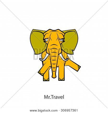 Cartoon Character Of An African Animal. A Ridiculous Cool Yellow Elephant With Big Ears And Tusks Wa