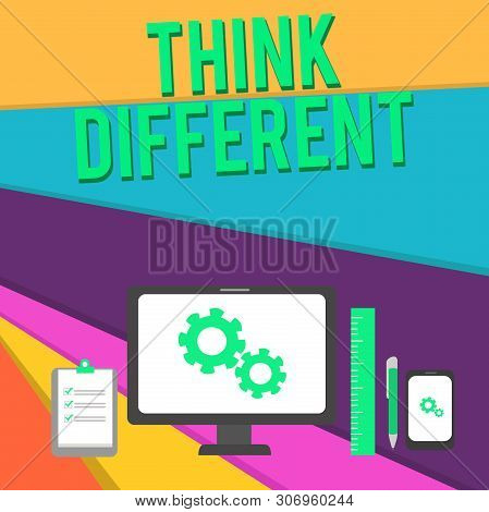 Word writing text Think Different. Business concept for be unique with your thoughts or attitude Wind of change Business Concept PC Monitor Mobile Device Clipboard Ruler Ballpoint Pen. poster