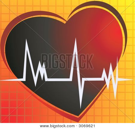 Illustration of a heart and heart pulses in yellow background poster