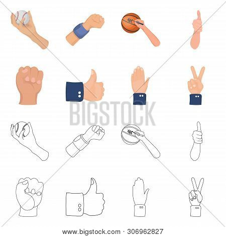 Vector Design Of Animated And Thumb Symbol. Collection Of Animated And Gesture Stock Symbol For Web.