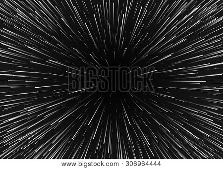 Abstract Background Motion In Cosmos. Travel In Spase With Super Speed. Blurred Stars Light In Lines