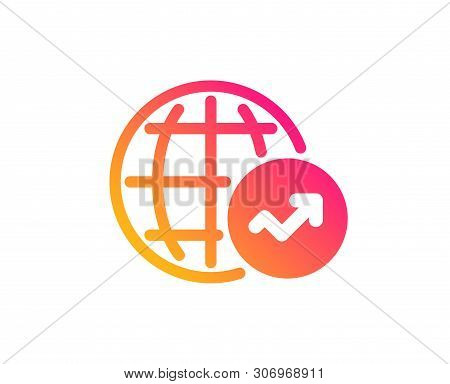 World Statistics Icon. Report Chart Or Sales Growth Sign. Data Analysis Graph Symbol. Classic Flat S