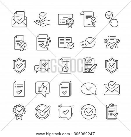 Approve Line Icons. Set Of Certificate, Checklist And Award Medal Icons. Certified Document, Accepte