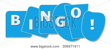 Bingo Text Written Over Blue Horizontal Background.