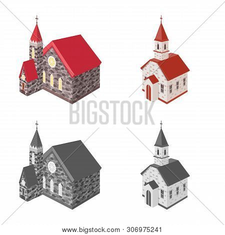 Vector Illustration Of Temple And Historic Symbol. Collection Of Temple And Faith Vector Icon For St