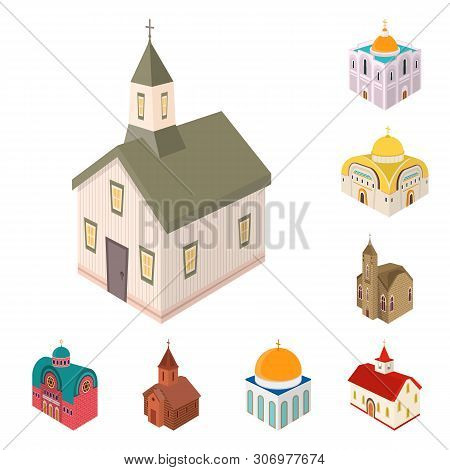 Vector Design Of Architecture And Building Icon. Set Of Architecture And Clergy Stock Vector Illustr
