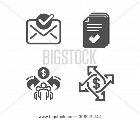 Set Of Approved Mail, Sharing Economy And Handout Icons. Payment Exchange Sign. Confirmed Document,