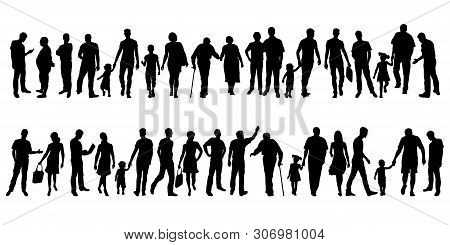 Collection Of People Silhouettes. Set Of Different Human Silhouettes Isolated On White Background. V