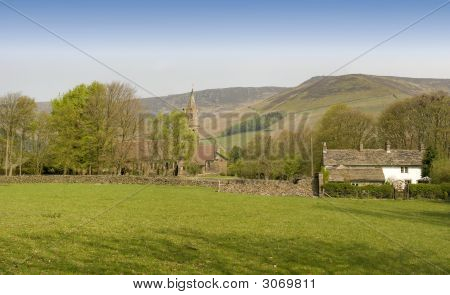 Edale church and village in the Peak District poster