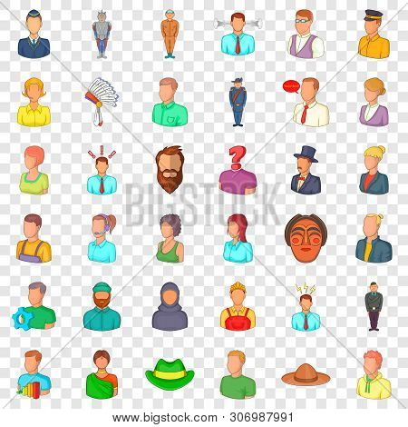Occupation Icons Set. Cartoon Style Of 36 Occupation Vector Icons For Web For Any Design