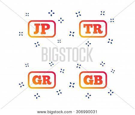 Language Icons. Jp, Tr, Gr And Gb Translation Symbols. Japan, Turkey, Greece And England Languages.