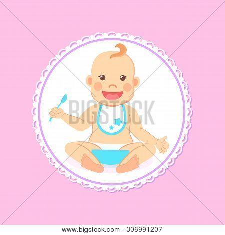 Baby Shower Greeting Card, Infant Boy Eats Itself. Vector Toddler In Bib And Diaper With Spoon And B