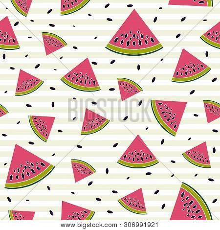 Juicy Background Of Watermelons. Seamless Texture Of Summer Theme