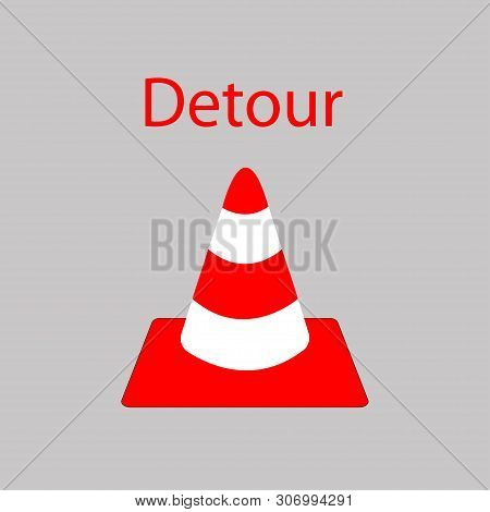 Red Road Detour On A Gray Background