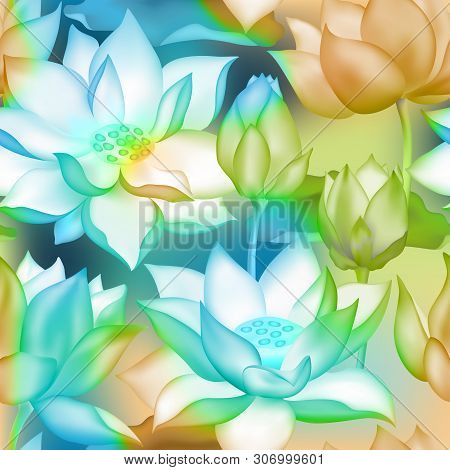 Lotus Buds And Flowers Seamless Wallpaper. Water Lilly Nelumbo Aquatic Plant Illustration. Sacred Lo