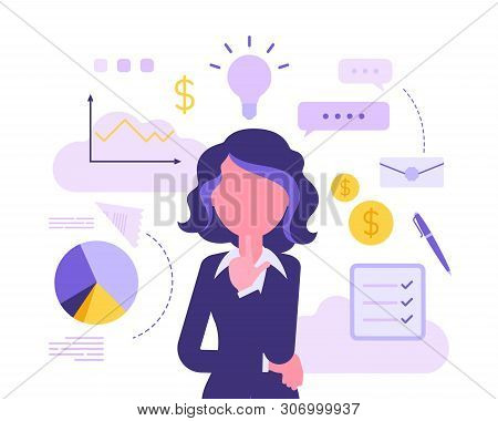 Businesswoman Thinking About New Project. Business Inspiration For Creative Female Manager, Entrepre