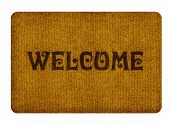 Brown welcome carpet welcome doormat carpet isolated on white. poster