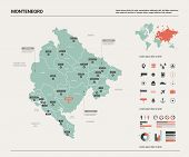 Vector map of Montenegro. Country map with division, cities and capital Podgorica. Political map,  world map, infographic elements. poster