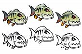 Angry cartoon piranha fish in three variations isolated on white backgrounds poster