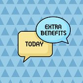 Text sign showing Extra Benefits. Conceptual photo Additional compensation Bonus Subsidies Incentives Allowances Pair of Overlapping Blank Speech Bubbles of Oval and Rectangular Shape. poster