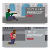 Vector horizontal banners with illustrations of poor and homeless peoples. Hopeless and workless caucasian and disabled black african need help. Poverty and poor man illustration. poster