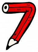 cartoon pencil shaped number 7 poster