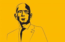 Jul, 2019: The Famous Entrepreneur, Founder And The Richest Man Jeff Bezos Vector Portrait On A Blue
