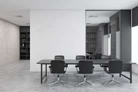 Black Chair Conference Room With Mock Up Wall