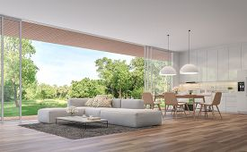 Modern Living, Dining Room And Kitchen With Garden View 3d Render.the Rooms Have Wooden Floors ,deco
