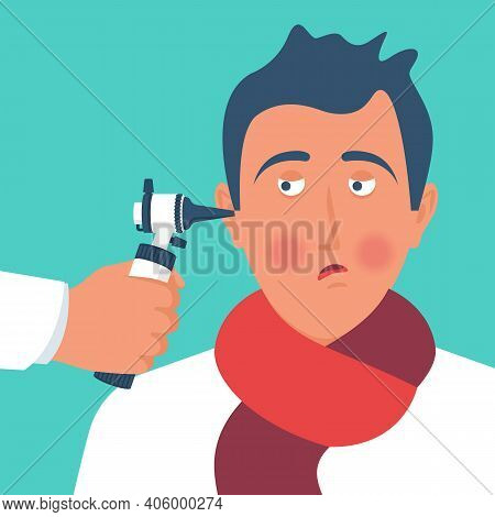The Doctor Looks At The Otoscope. A Professional Ophthalmologist Examines A Sick Patient. Clinic Ill