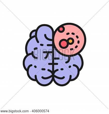 Brain Cancer, Malignant Tumor, Oncology Flat Color Line Icon.