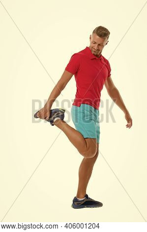 Warming Up With Some Stretches. Athletic Man Stretching Isolated On White. Muscle Stretching. Stretc