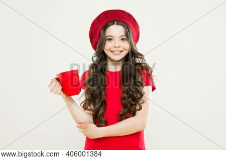 Drink Enough Water. Girl Kid Hold Mug Yellow Background. Child Hold Mug. Drinking Tea Juice Cocoa. R