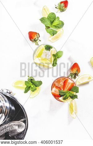 Mojito Mocktail Set With Lime, Mint, Strawberry And Ice On White Background. Cold Alcoholic Non-alco