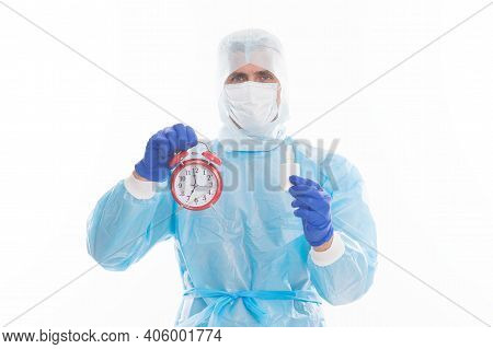 Specify Time To Take Medicine. Medical Man Hold Clock And Medicament. Medication Intake Schedule. Re