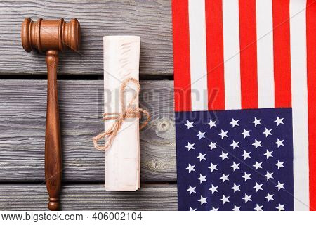 Usa Flag With Gavel And Scroll. Independence Declaration Concept.