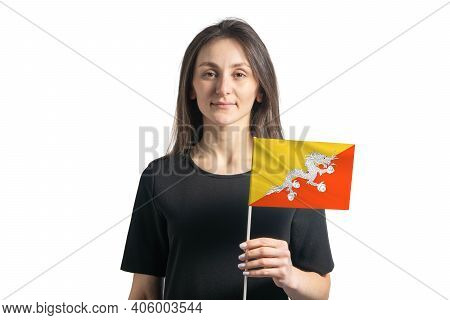Happy Young White Girl Holding Butane Flag Isolated On A White Background