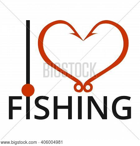 I Love Fishing. Red Heart Icon Isolated On White Background. Concept Of Hobby, Pastime. Heart Of Two