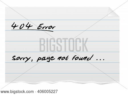 404 Error Page Template, Torn Piece Of Ruled Paper From Notepad With Handwritten Text Vector Illustr
