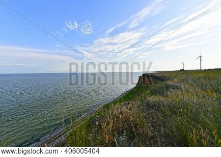 Landscapes Of The Sea Coast On The Azov Sea, Steep Banks, Trees And Fields.