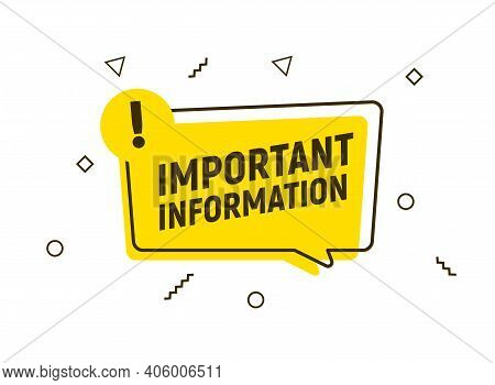 Important Attention Notice Sign. Announce Message Banner Important Information