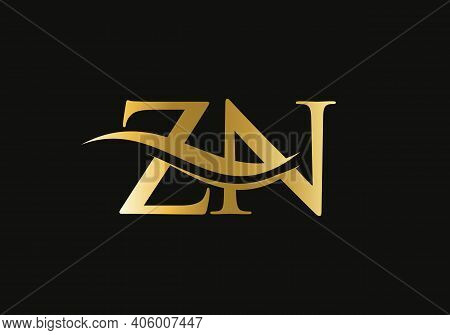 Swoosh Letter Zn Logo Design For Business And Company Identity. Water Wave Zn Logo With Modern Trend