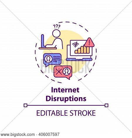 Internet Disruptions Concept Icon. Online English Teaching Challenges. Different Things That Block I
